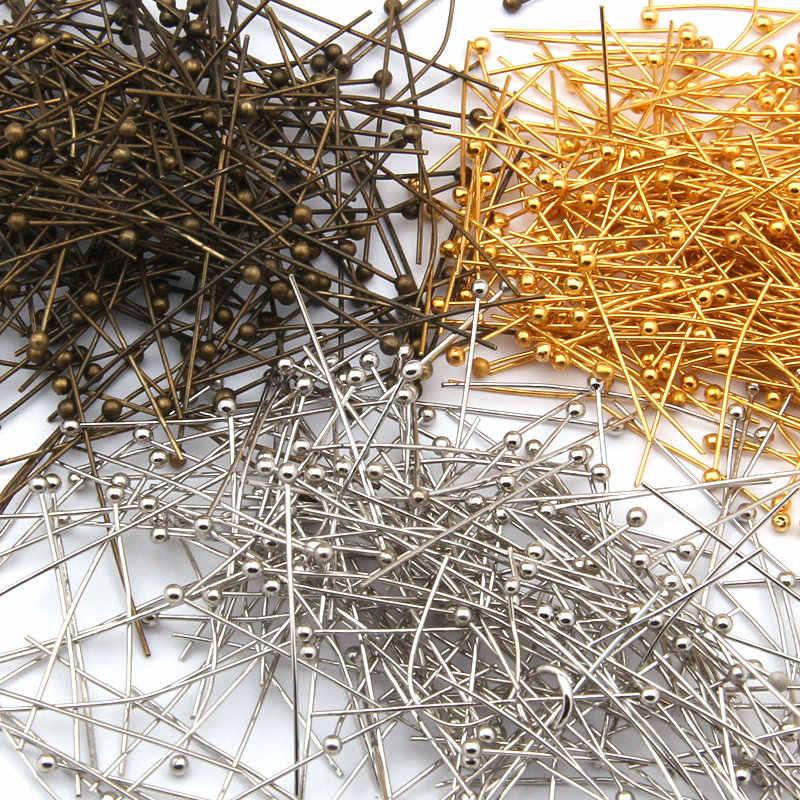 100 ピース/ロットゴールドブロンズロジウムシルバー色の銅材料ボールヘッドピン針 diy ジュエリーアクセサリージュエリー所見