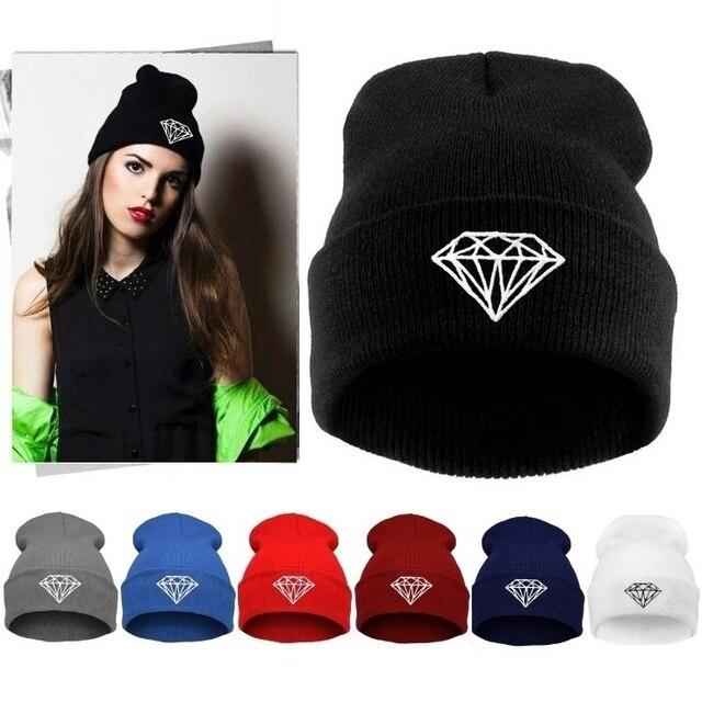 fc278d38e3aef 2015 para mujer de moda otoño invierno diamond gorros vogue punto de esquí  beanie skullies sombreros