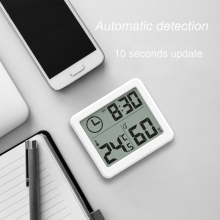 Digital LCD Thermometer Hygrometer Electronic Temperature Humidity Meter Weather Station Indoor Outdoor Tester with Clock купить недорого в Москве
