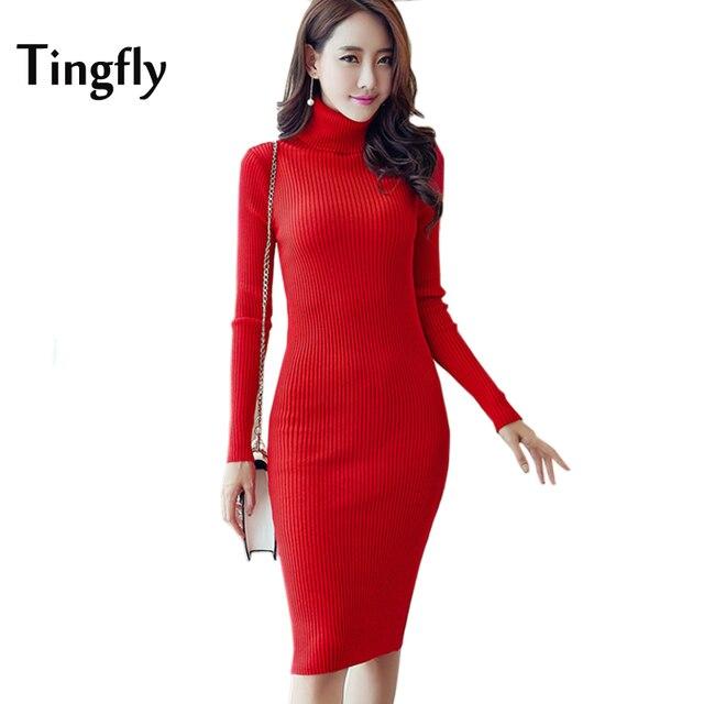 Tingfly Vintage Knitted Dress 2017 New Women s Autumn Winter Bodycon Sheath  Vestidos Long Sleeve Turtleneck Fitness Dresses 54d9e76fb68d