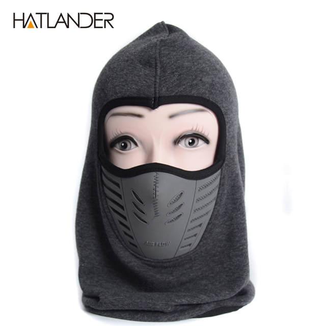 US $4.9 65% OFF|HATLANDER Thick warm beanies men women winter hats sleeve caps snow ski mask Motorcycle Fleece balaclava Neck helmet Skullies in Men's
