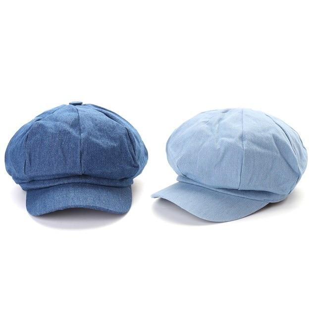 ea009b3b Denim Newsboy Hats Washed Octagonal Cap Beret Hat For Women Sun Hat Ladies  Summer Spring Retro