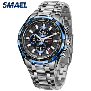 Image 2 - SMAEL Uhren Männer 2020 Top Marke Luxus Quarz Uhren Große Zifferblatt Wasserdicht Chronograph Sport Armbanduhr Relogio Masculino 9063