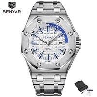 BENYAR männer Uhren Mode Stain Stahl Stahl Strap Männer Uhr Luxus Militär Armee Sport Herren Wasserdichte Uhr reloj hombre-in Quarz-Uhren aus Uhren bei