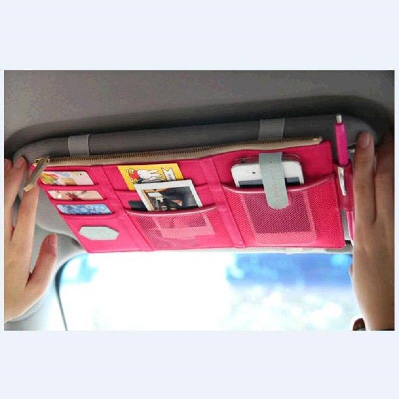 Chiziyo coche visera recibe el bolso del almacenaje del organizador del cargador del coche caja multiuso herramientas organizador para tarjeta de combustible teléfono Móvil