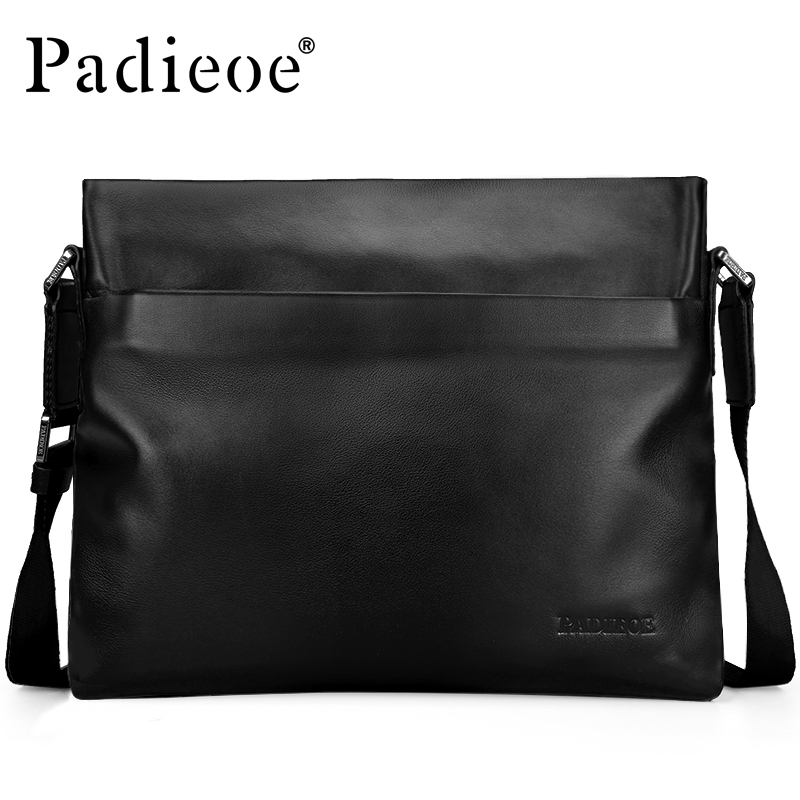 Padieoe High Quality Cow Leather Men's Shoulder Bags Famous Brand Genuine Leather Crossbody Bags For Male Casual Messenger Bags padieoe famous brand shoulder bag genuine cow leather crossbody bag classic designer messenger bag high quality male bags