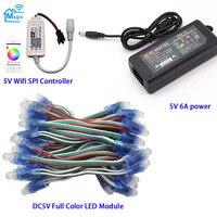 50 шт. Hi-Q DC5V полноцветный WS2811 IC пиксель rgb светодиодный модуль IP67, Wifi светодиодный контроллер SPI, 5 В 6A светодиодный адаптер питания
