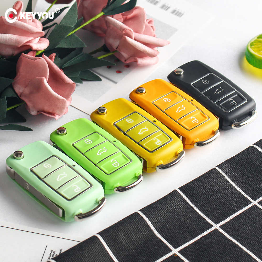 KEYYOU 5x Автомобильный ключ оболочки 3 кнопки флип дистанционного ключа автомобиля чехол для Volkswagen VW Jetta Golf 7 Passat b5 b6 Beetle Polo Bora t5
