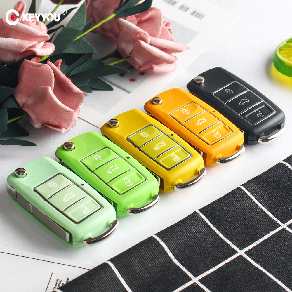 KEYYOU 5x Car <font><b>Key</b></font> Shell 3 Button Flip <font><b>Remote</b></font> Car <font><b>Key</b></font> Cover Case For Volkswagen VW Jetta <font><b>Golf</b></font> <font><b>7</b></font> Passat b5 b6 Beetle Polo Bora t5 image