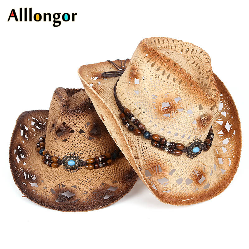 Fashion 2019 <font><b>Cowboy</b></font> <font><b>Hat</b></font> Women Retro Vintage Turquoise Leather Strap <font><b>Cowboy</b></font> Cowgirl Caps Western Summer Sun <font><b>Hat</b></font> image