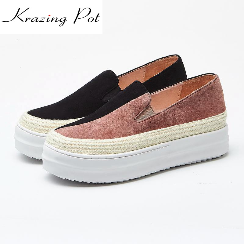 Krazing Pot sheep suede slip on superstar round toe sneaker mixed colors causal shoes women high quality vulcanized shoes L66