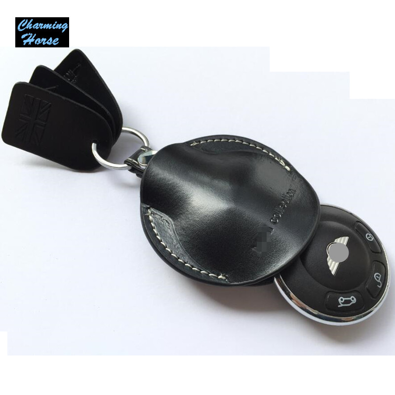 Leather Remote Key fob Case Ring Chain Bag Holder Cover For BMW Mini Cooper Convertible Clubman
