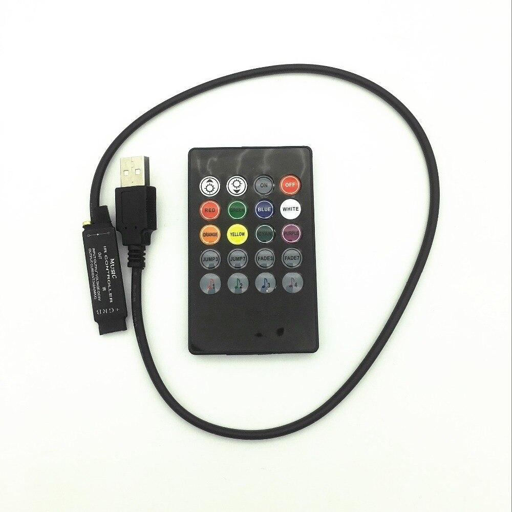 5V Music IR Controller 20 Keys 6A 3*2A Black Voice Sound Sensor Remote Practical Home Party For Usb 5050 3528 RGB 5V LED Strip