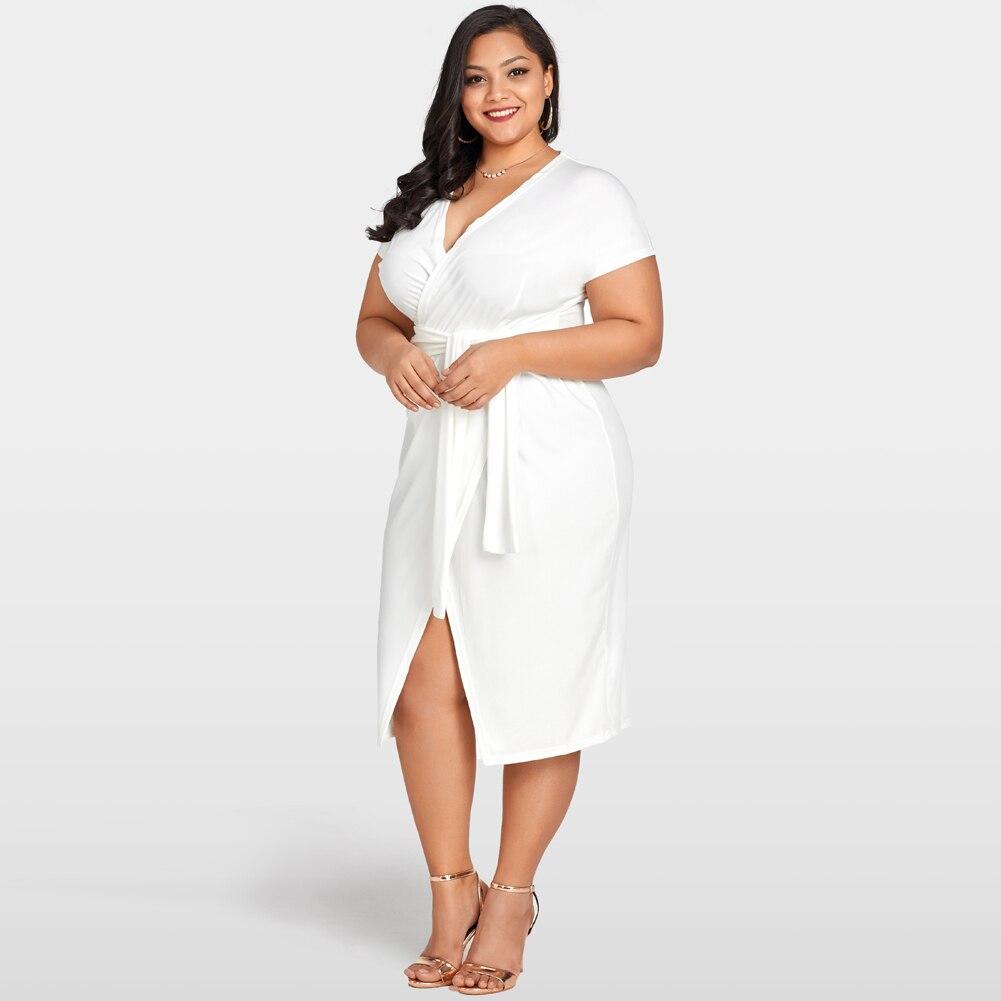 2019 Summer Fashion Wrap Dress Women Cross Over Tie Waist Female ... 5398cfe06beb