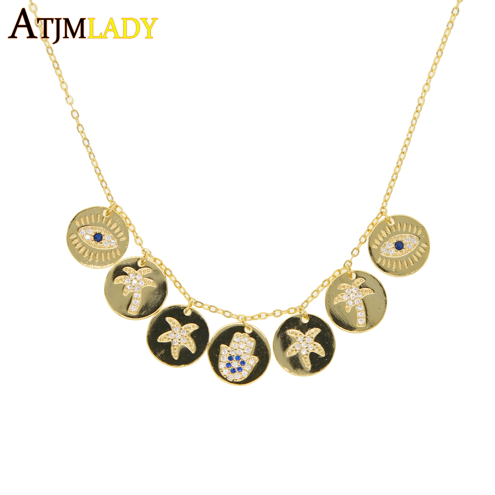lucky symbol coin necklace gold color sea star coconut ...