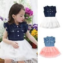 604f986a39 TELOTUNY 2018 Summer Kids girl dress Toddler Kids Baby Girl Summer Princess  Denim Patchwork lace Tulle