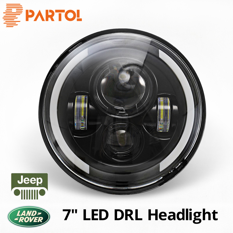 Partol 7 inch 60W LED Headlight Car Driving Light Hi/Lo DRL 6500K 12V For Jeep CJ Wrangler Land Rover Truck 4x4 off-road vehicle co light 105w round 7 inch led headlight h4 h13 angel eye hi lo drl 12v 24v for jeep wrangler land rover lada niva 4x4 off road