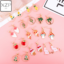 XZP Japan Enamel Cartoon Fruit Drop Plant Earrings Cute Rabbit Pizza Ice Cream Pendant For Women Girls Jewelry Earring
