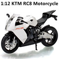 1:12Alloy motorcycle  model , high simulation metal casting motorcycle toys, KTM RC8 motorcycle free shipping