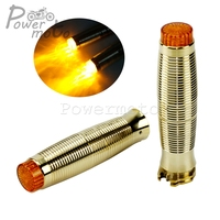 1'' Rough Crafts Solid Brass Hand Grips For Harley SPORTSTER 883 Iron Chopper Bobber Custom Motorcycle 25mm Retro Grip w/ LED