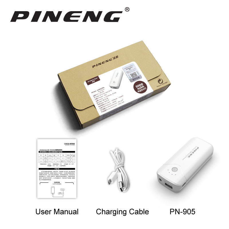 Pineng PN-905 Original New 5000mAh Portable Battery Mobile Power Bank USB Charger Li-Polymer with LED Indicator For Smartphone