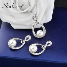 SINLEERY Fashion Simulated Pearl Jewelry Sets For Woman Rhinestone Water Drop Necklace Pendant Earrings Bridal Wedding TZ206 SSH(China)
