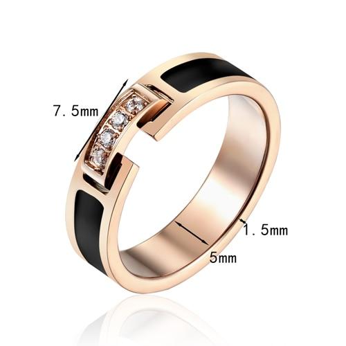 Hot Sale Classic Luxury Jewelry Black Side 4 Zircon Elegant Love Ring Titanium Steel Rose Gold Color Brand Ring For Women 6