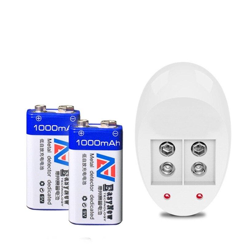 2 pièces 1000 mAh 9 v li-ion lithium 9 volts Batterie Hersteller garantie + chargeur 9 V