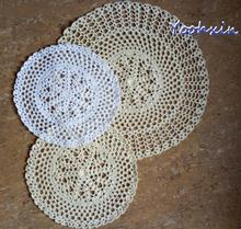 Modern Round lace cotton table place mat cloth crochet placemat tea coffee pad glass dining coaster cup mug Christmas kitchen