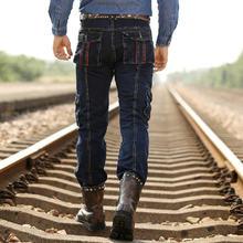 Зимний мужской оснастки джинсовые брюки свободные прямые casua брюки мужской военная форма брюки бесплатная доставка H1863