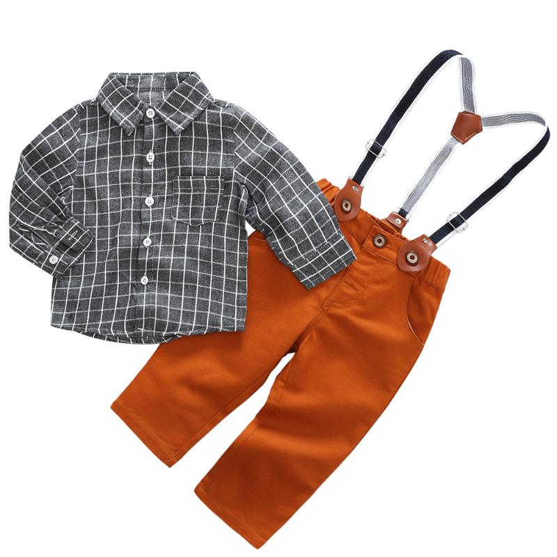 2pcs Autumn Baby Boy Kids Clothes Set Suit Cotton Gentleman Fashion Plaid Long Sleeve Shirt + Overalls Casual  Children Sets