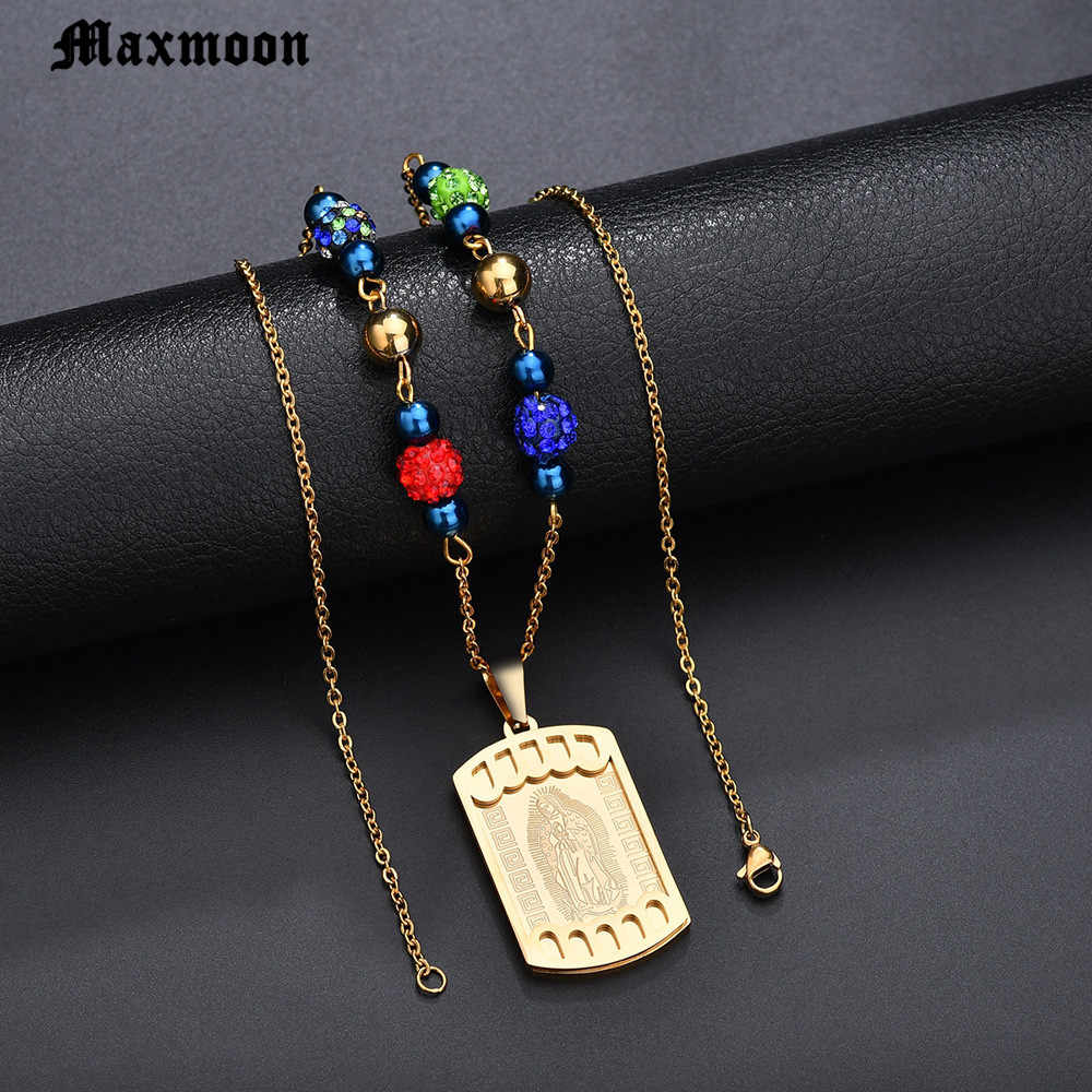 Maxmoon Virgin Mary Pendant Beads Chain Christian Necklace Goddess Catholic Choker Necklace Collier for Women