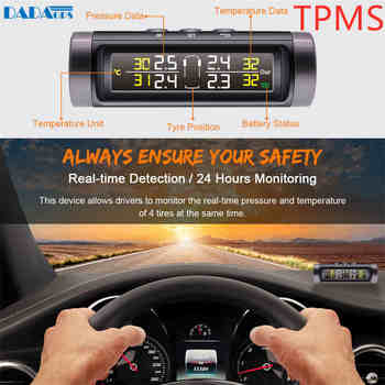 Solar Power Internal Sensors Real-time Display TPMS tire pressure monitoring alarm system wireless transmission