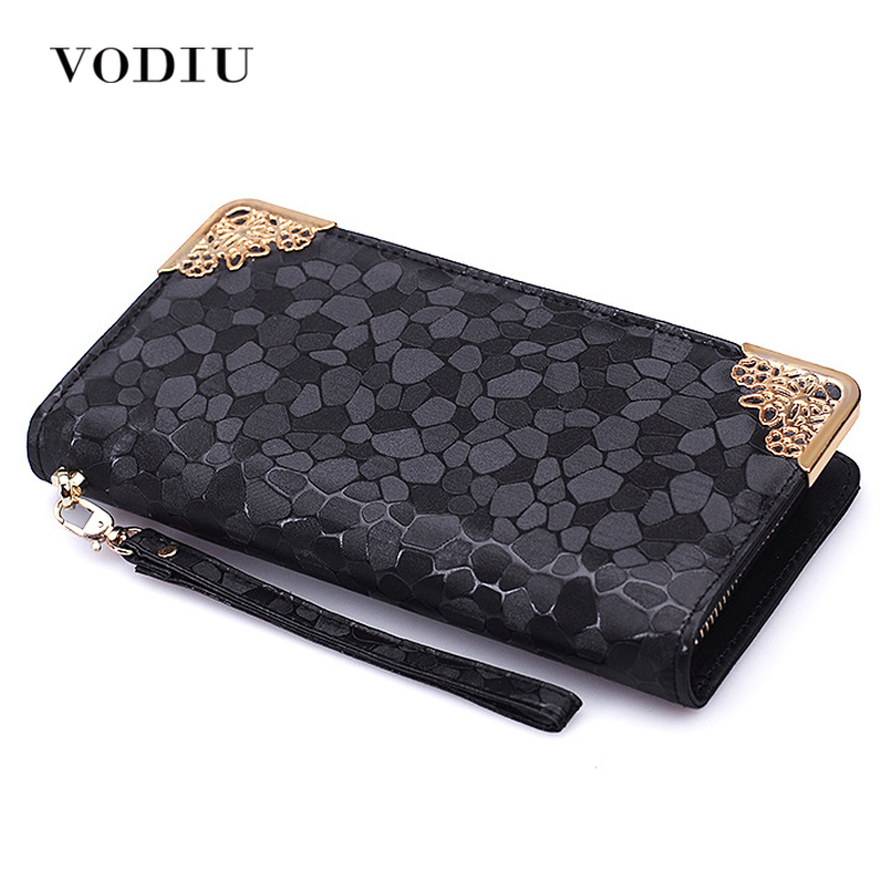 2016 Luxury Vintage Brand Women Stone Leather Long Slim Wallet Female Wristlet Clutch Bag Purse Coin Card Holder Thin Portomonee jialante python skin women wallet female long style real snake leather manual super thin simple multi card female clutch bag