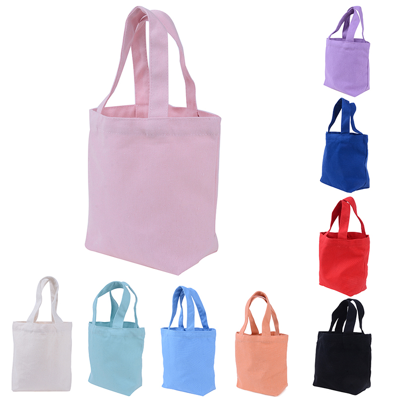 1Pc Solid Color Canvas Handbag Shopping Bag Girl Portable Lunch Bag Picnic Pouch Storage Tote