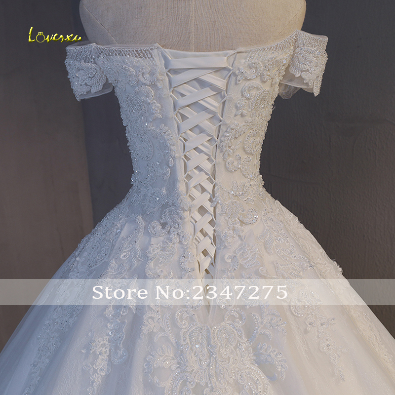 Image 5 - Loverxu Gorgeous Appliques Lace Chapel Train A Line Wedding Dress 2020 Luxury Beaded Boat Neck Sexy Bridal Gown Vestido de NoivaWedding Dresses   -