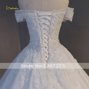 Image 5 - Loverxu Gorgeous Appliques Lace Chapel Train A Line Wedding Dress 2020 Luxury Beaded Boat Neck Sexy Bridal Gown Vestido de Noiva