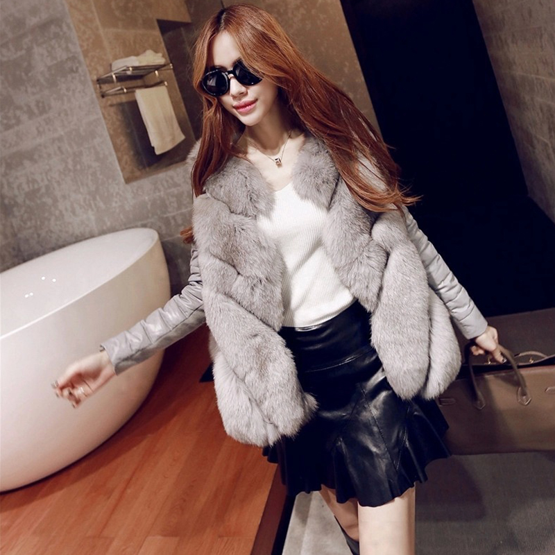High Quality Faux Fur Coat For Woman Warm Coat Woman Winter Snow Palka Overcoat Detachable Sleeve