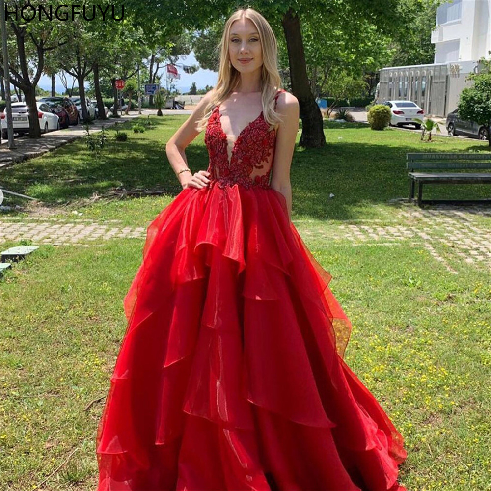 HONGFUYU V Neck Red   Prom     Dress   for Women Floor Length Appliques Lace Sleeveless robe de soiree Party Gowns Evening   Dresses   Long