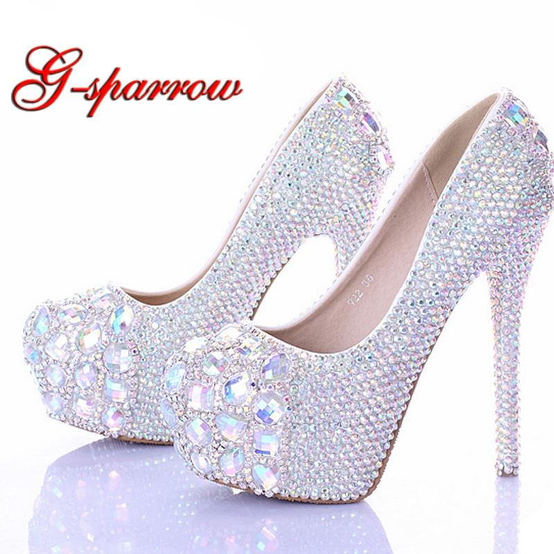 Stiletto Heel Wedding Shoes Luxury Sparkly AB Crystal Bride Formal Dress Shoes Platform Rhinestone Party Prom Heels Big Size 44 2018 sparkling design party prom shoes handmade ab crystal peep toe wedding dress shoes homecoming prom high heels size 10