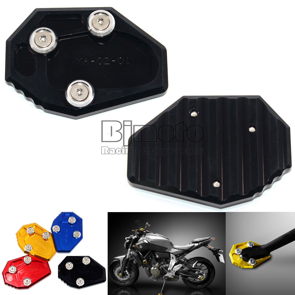 Motorcycle CNC Aluminum Side Stick Stand Plate Enlarge Extension Black For Yamaha MT07 FZ07 XJ6 FZ6 FZ6R universal windshield cnc motorcycle fairing body work fasten bolts screws for yamaha fz1 fazer fz6r fz8 xj6 fz6 mt 09 fz 09