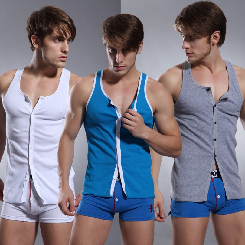 SUPERBODY men's underwear button open front male vest cotton comfortable home sexy   tank     top