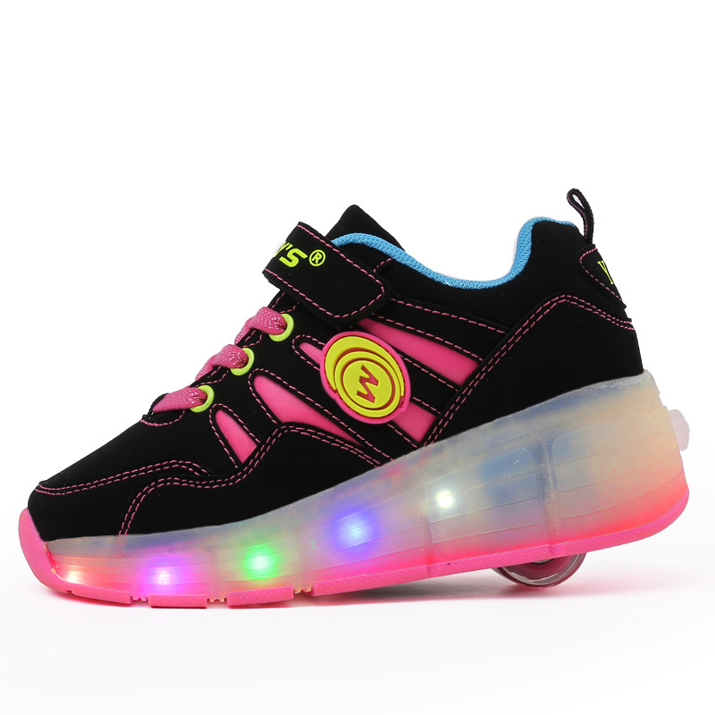 2017 New Child Girls Boys LED Light Pink Blue Leather Sport Shoes For Children Kids Sneakers With Wheels 2017new children led light shoes with one two wheels kids pu leather high help roller skate shoes boys girls sneakers shoes
