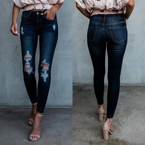 Cintura Mujeres Alta Estiramiento Vaqueros Skinny Pantalones Mezclilla Lápiz Ocasional frgfwcSPq