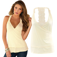 De Monarchia New Style White And Black Ruffled High-Collared Camisole Deep V Neck Crochet Pattern Back Lace Tank Tops For Women