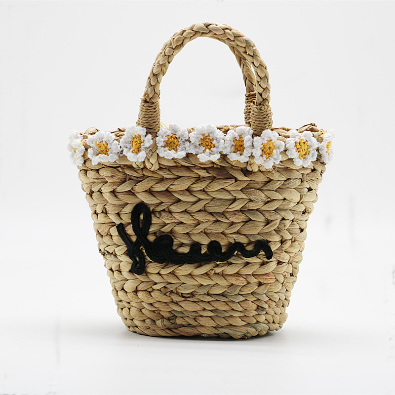 Handmade Cute Small Beach Tote with Flowers, Handbag Straw Woven Bag, Shoulder Bag straw flamingo embroidered tote bag
