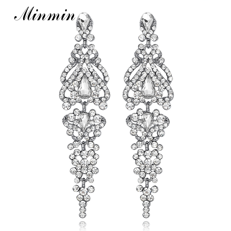 Minmin Warna Silver Kristal Anting Panjang untuk Wanita Elegan Vas Bentuk Wedding Bridal Drop Earrings Fashion Jewelry 2018 EH291