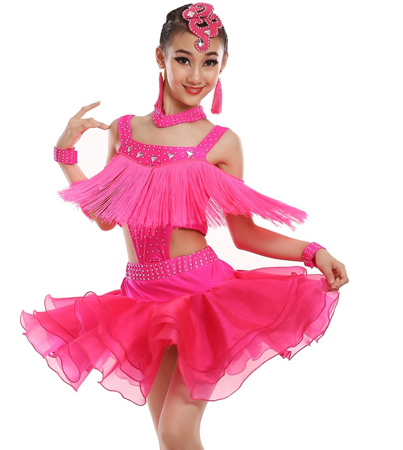 customize girl black/white/red Latin dance dress children split tassel sequined Rumba Samba tango dance competition dress