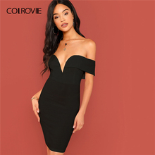 354018ecdd35 COLROVIE Black Solid Off the Shoulder Bardot Bodycon Party Dress Women 2019  Fashion Slim Night Out