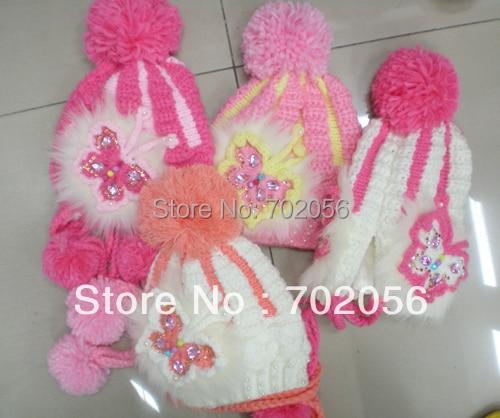 Hat Crochet-Hat Girls Winter 20pcs/Lot Beanie Gift-Cap Knitted Butterfly Rithinstone